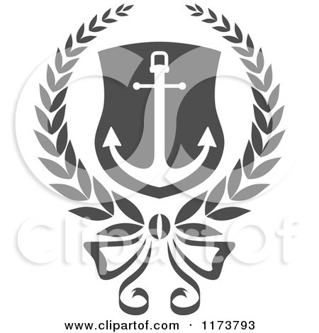 Clipart of a Grayscale Heraldic Marine Anchor 2 - Royalty Free ...