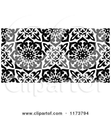 Clipart of a Seamless Black and White Arabic Floral Pattern - Royalty Free Vector Illustration by Vector Tradition SM