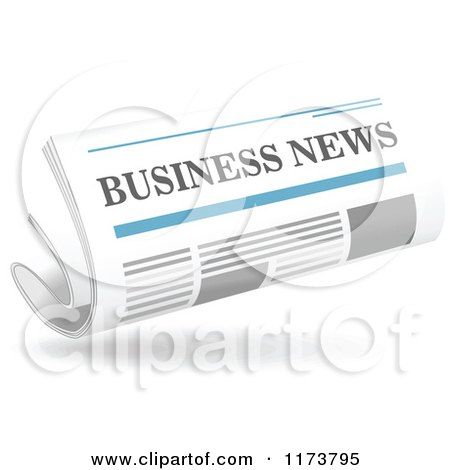 Clipart of a Floating Business Newspaper and Shadow - Royalty Free Vector Illustration by Vector Tradition SM