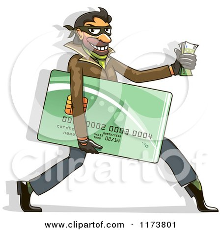 Clipart of a Hacker Identity Thief Carrying a Credit Card and Cash - Royalty Free Vector Illustration by Vector Tradition SM