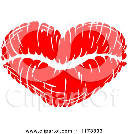 Clipart of a Red Lipstick Kiss - Royalty Free Vector Illustration by Vector Tradition SM