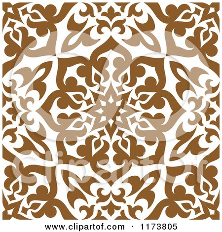 Clipart of a Seamless Brown and White Arabic Floral Pattern - Royalty Free Vector Illustration by Vector Tradition SM