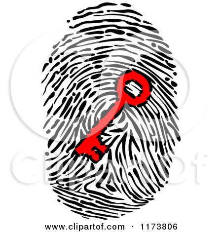 Clipart of a Red Key in a Fingerprint - Royalty Free Vector Illustration by Vector Tradition SM
