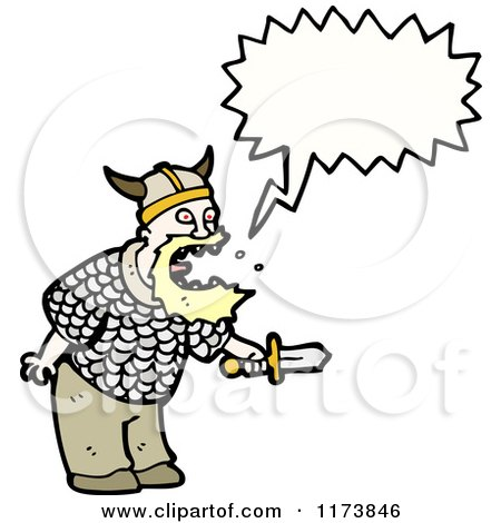 Cartoon of Viking with Conversation Bubble - Royalty Free Vector Illustration by lineartestpilot