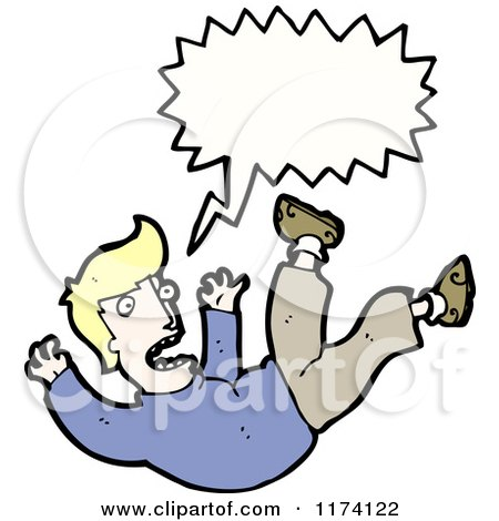 Cartoon of Blonde Man Falling with Conversation Bubble - Royalty Free Vector Illustration by lineartestpilot
