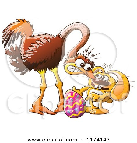 Cartoon of an Easter Bunny Trying to Steal an Ostrich Egg ...