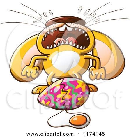 Cartoon of an Easter Bunny Crying over a Broken Egg - Royalty Free Vector Clipart by Zooco