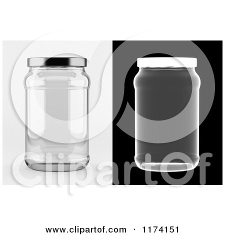 Clipart of a 3d Empty Glass Jar on White and Black Backgrounds - Royalty Free CGI Illustration by stockillustrations