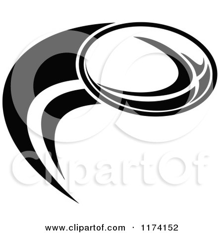 Clipart of a Black and White Rugby Ball and Swoosh with a White Ring Around the Ball - Royalty Free Vector Illustration by patrimonio