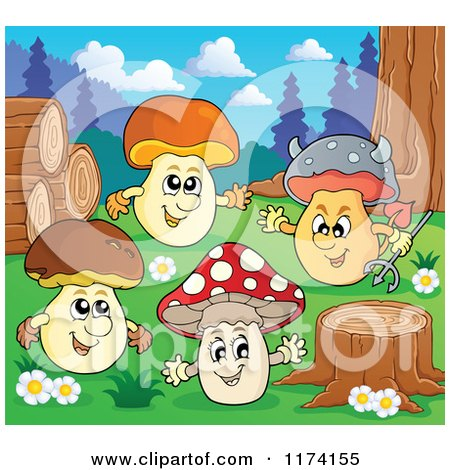 Cartoon of Mushroom Characters by Logs and a Tree Stump - Royalty Free Vector Clipart by visekart