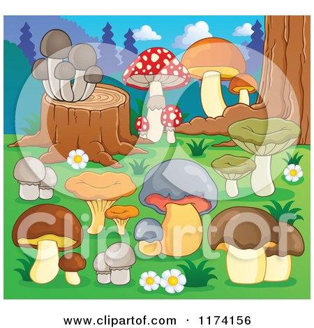 Cartoon of Mushrooms Growing Around a Tree Stump - Royalty Free Vector Clipart by visekart