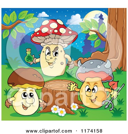 Cartoon of Mushroom Characters by a Tree Stump - Royalty Free Vector Clipart by visekart