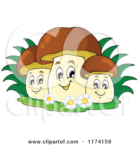 Cartoon of a Group of Three Happy Mushrooms - Royalty Free Vector Clipart by visekart