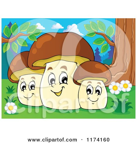 Cartoon of a Group of Three Happy Mushrooms at the Base of a Tree - Royalty Free Vector Clipart by visekart