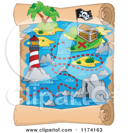 Cartoon of a Vertical Parchment Treasure Map of a Pirate Ship near an Island and Lighthouse - Royalty Free Vector Clipart by visekart