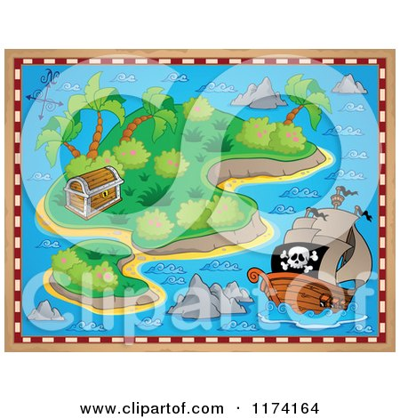 Cartoon of a Treasure Map of a Pirate Ship near an Island with a Booty Chest - Royalty Free Vector Clipart by visekart