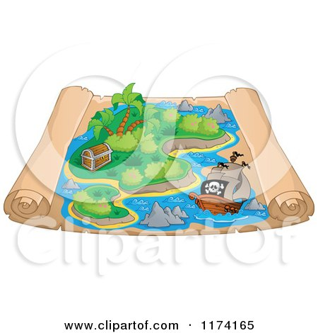 Cartoon of a Parchment Treasure Map with a Pirate Ship near an Island - Royalty Free Vector Clipart by visekart