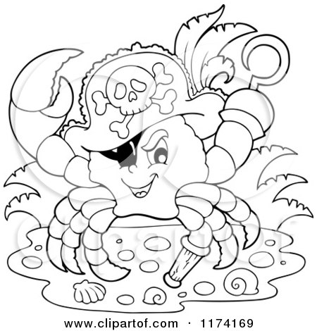 Cartoon of a Black and White Pirate Crab Captain with a Hat Peg Leg and Hook Hand - Royalty Free Vector Clipart by visekart
