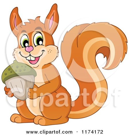 Cartoon of a Cute Squirrel Holding an Acorn - Royalty Free Vector Clipart by visekart