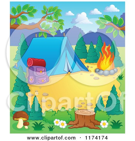 Cartoon of a Campground Site with a Tent Pack and Fire - Royalty Free Vector Clipart by visekart