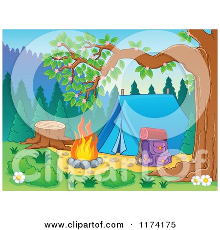 Cartoon of a Camp Site with a Tent Pack and Fire - Royalty Free Vector Clipart by visekart