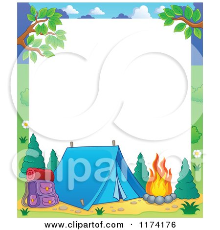 Cartoon of a Camping Frame with a Tent and Fire on White - Royalty Free Vector Clipart by visekart