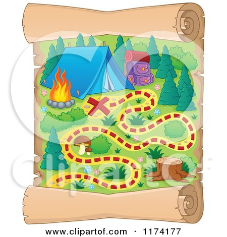 Cartoon of a Vertical Camp Ground Scroll Map - Royalty Free Vector Clipart by visekart