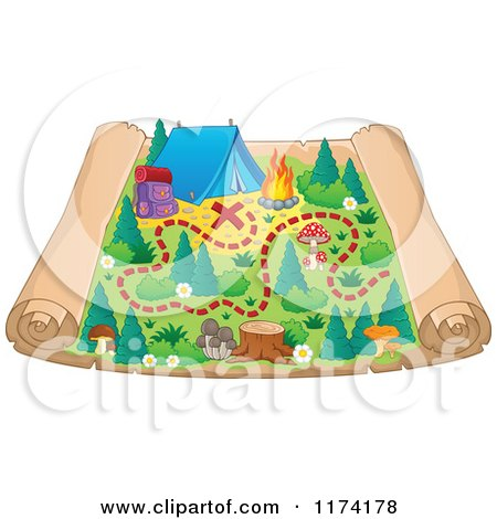 Cartoon of a Camp Ground Scroll Map - Royalty Free Vector Clipart by visekart