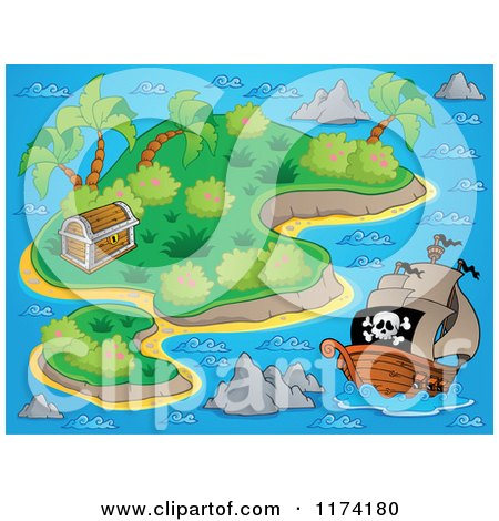 Cartoon of a Pirate Ship near an Island with a Treasure Chest - Royalty Free Vector Clipart by visekart