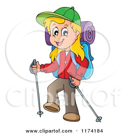 Cartoon of a Happy Blond Girl Hiking with Trekking Poles - Royalty Free Vector Clipart by visekart
