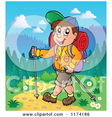 Cartoon of a Happy Man Hiking with Trekking Poles - Royalty Free Vector Clipart by visekart