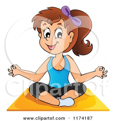 Cartoon of a Brunette Yoga Woman in a Lotus Pose - Royalty Free Vector Clipart by visekart