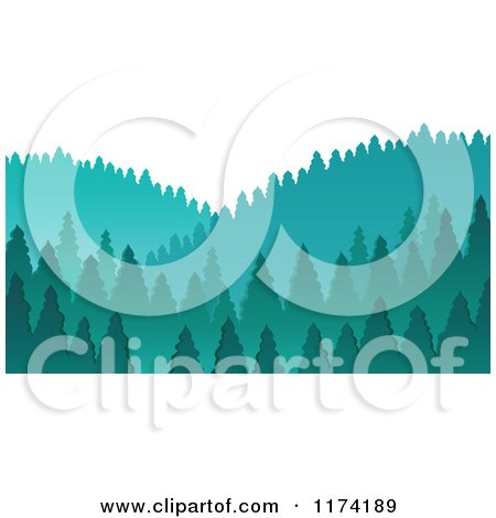 Cartoon of a Scenic Hills with Evergreen Trees - Royalty Free Vector Clipart by visekart