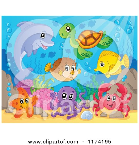Cartoon of a Dolphin Sea Turtle Starfish Octopus Crab Fish and Puffer - Royalty Free Vector Clipart by visekart