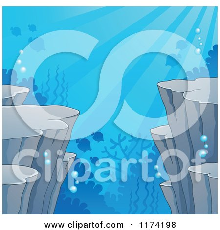 Cartoon of an Underwater Ocean Background of Sea Cliffs Corals and Fish - Royalty Free Vector Clipart by visekart