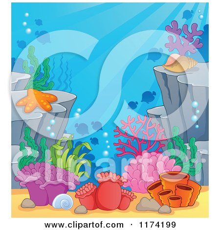 Cartoon of an Underwater Ocean Background of Reef Corals Anemones and Fish 2 - Royalty Free Vector Clipart by visekart