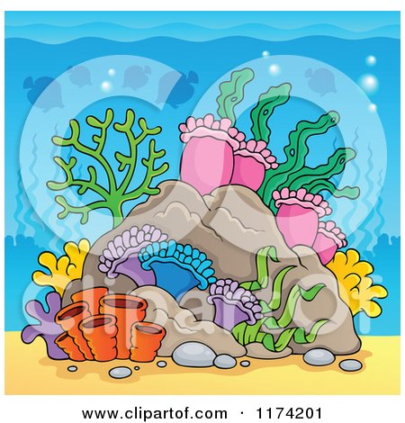 Cartoon of an Underwater Ocean Background of Reef Corals Anemones and Fish 5 - Royalty Free Vector Clipart by visekart