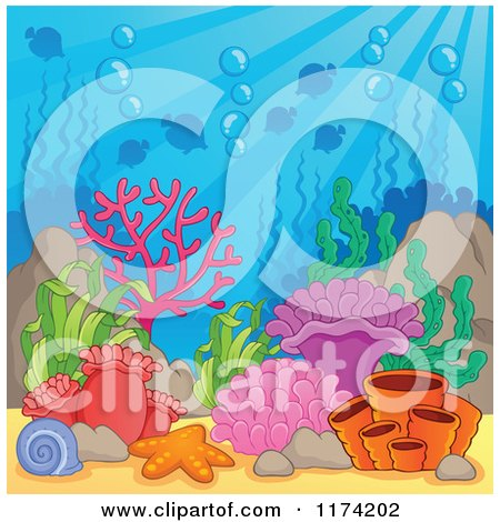 Cartoon of an Underwater Ocean Background of Reef Corals Anemones and Fish 3 - Royalty Free Vector Clipart by visekart