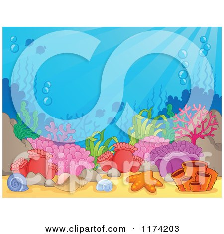 Cartoon of an Underwater Ocean Background of Reef Corals Anemones and Fish 4 - Royalty Free Vector Clipart by visekart