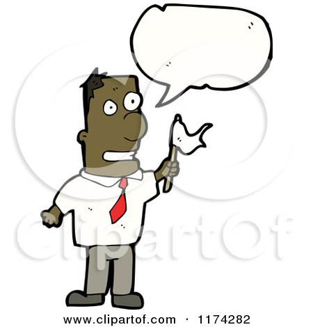 Cartoon of an African American Man Waving a Flag with a Conversation Bubble - Royalty Free Vector Illustration by lineartestpilot
