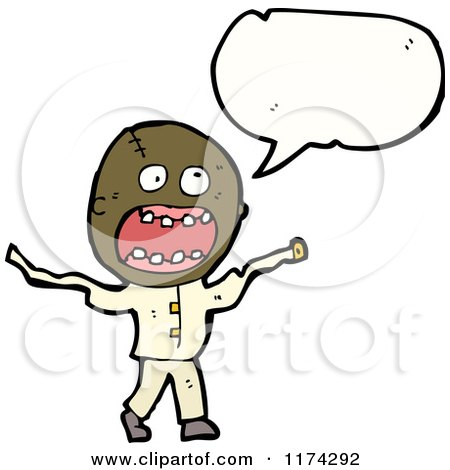 Cartoon of a Insane African American Man with a Conversation Bubble - Royalty Free Vector Illustration by lineartestpilot