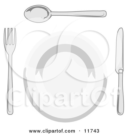 Dinner Plate, Fork, Spoon and Butter Knife Clipart Illustration by AtStockIllustration