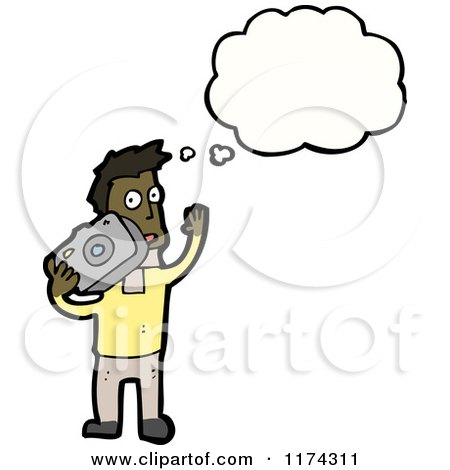 Cartoon of an African American Man with Camera and a Conversation Bubble - Royalty Free Vector Illustration by lineartestpilot