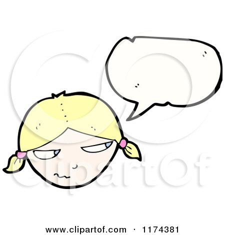 Cartoon of a Blonde Girl with Pigtails with a Conversation Bubble - Royalty Free Vector Illustration by lineartestpilot