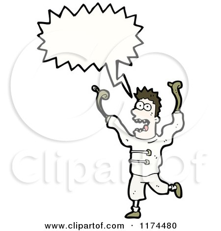 Cartoon of a Man Wearing a Straight Jacket with a Conversation Bubble - Royalty Free Vector Illustration by lineartestpilot