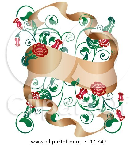 Red Flowers Growing Around A Banner Clipart Illustration