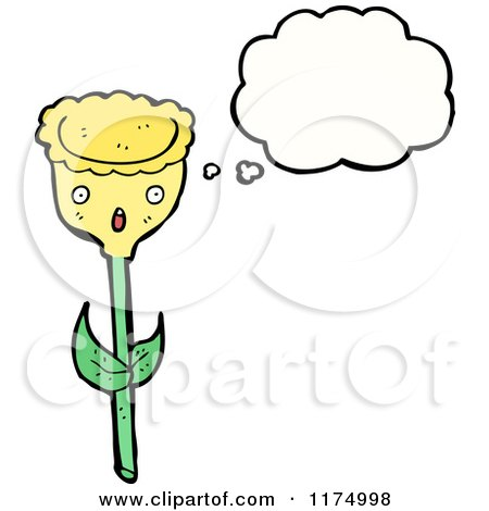 Cartoon of a Yellow Flower with a Conversation Bubble - Royalty Free Vector Illustration by lineartestpilot
