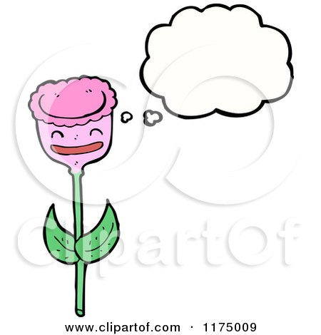 Cartoon of a Pink Flower with a Conversation Bubble - Royalty Free Vector Illustration by lineartestpilot