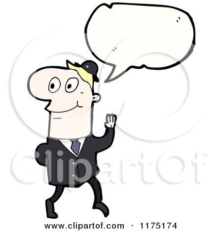 Cartoon of a Man Wearing a Tie with a Conversation Bubble - Royalty Free Vector Illustration by lineartestpilot