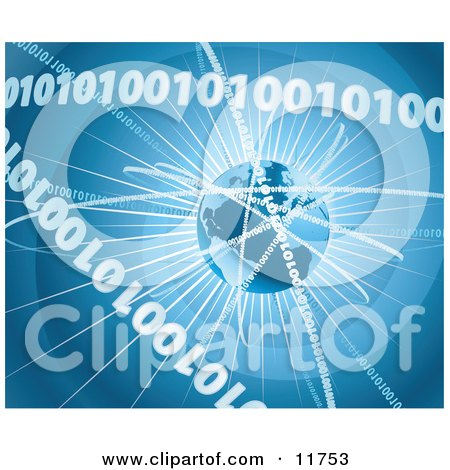 Binary Coding Forming Rings Around Earth Clipart Picture by AtStockIllustration